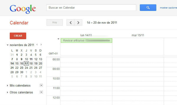 Google calendar y GTD