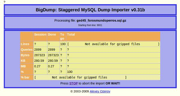 script bigdump para restaurar base de datos